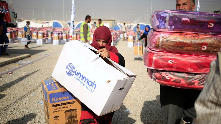 أول طائرة مساعدات إنسانية أوروبية لنازحي الموصل