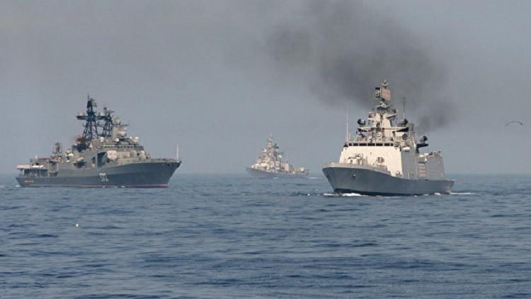 انطلاق مناورات بحرية روسية هندية