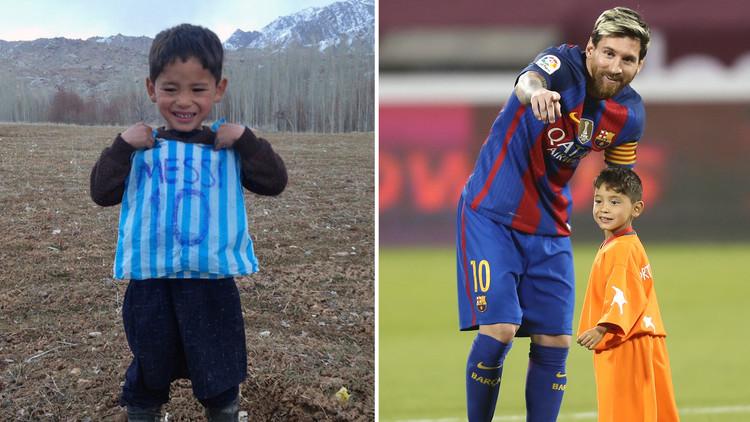 فيديو مثير.. ميسي يلتقي بالطفل الأفغاني صاحب كيس النايلون