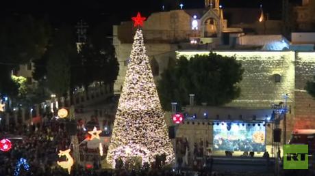 إنارة شجرة الميلاد في بيت لحم