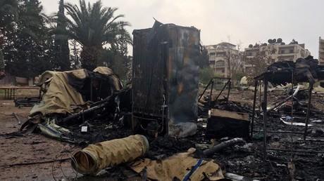 آثار قصف المستشفى الروسي في حلب