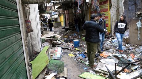 موقع تفجير مزدوج استهدف منطقة السنك في بغداد 31/12/2016