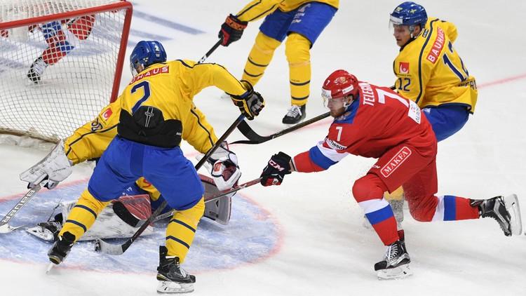 روسيا تتفوق على السويد بهوكي الجليد