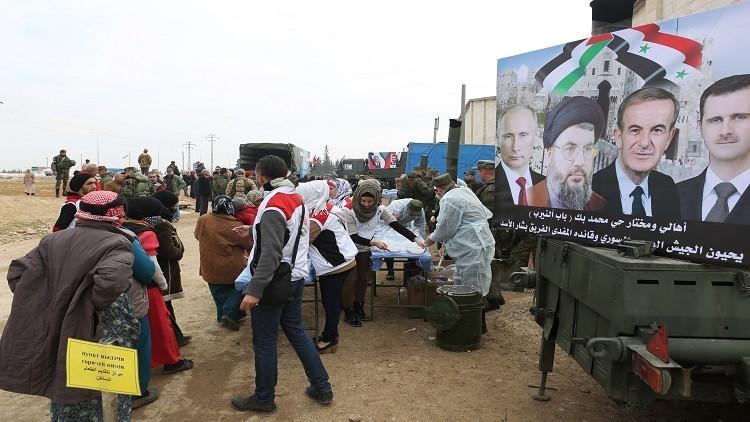 مركز حميميم مستمر بإيصال المساعدات الإنسانية إلى السوريين