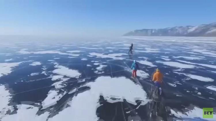 اختبار قدرة التحمل على جليد بحيرة بايكال