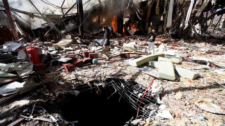 الصالة الكبرى بصنعاء التي قصفتها مقاتلات التحالف العربي في 8 أكتوبر/تشرين الأول من العام 2016