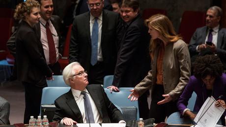 سامانثا باور وفيتالي تشوركين في مجلس الأمن الدولي
