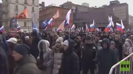مسيرة في ذكرى بوريس نيمتسوف بموسكو