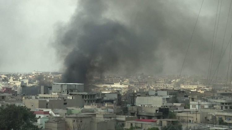 شاهد لحظة الانفجار الضخم الذي هز حي الدواسة غرب الموصل