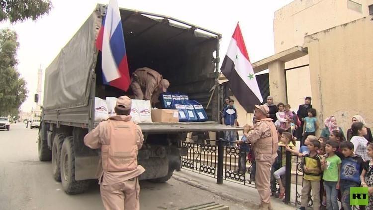 استمرار توزيع المساعدات الإنسانية الروسية في سوريا