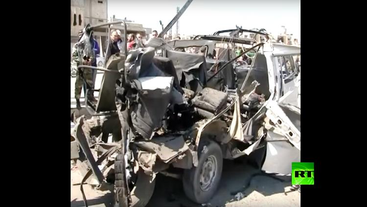 بالفيديو.. مقتل 5 أشخاص بتفجير حافلة في حمص