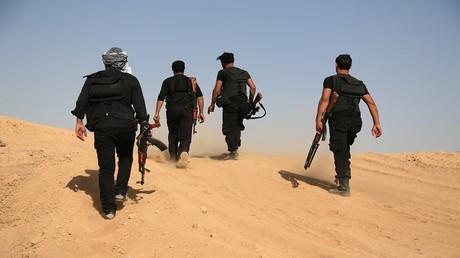 أرشيف، مسلحون خلال دورتهم في محيط مدينة الرقة السورية
