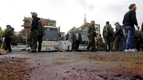 موقع الانفجارين الإرهابيين في حي الشاغور بدمشق القديمة (11 مارس/آذار 2017)