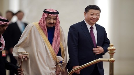 الملك السعودي سلمان بن عبد العزيز آل سعود والرئيس الصيني شي جين بيغ
