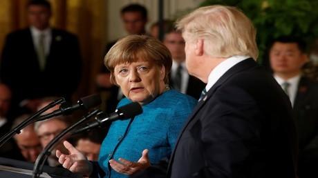 لقاء بين الرئيس الأمريكي دونالد ترامب والمستشارة الألمانية أنغيلا ميركل في واشنطن 18/3/2017