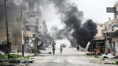 بلدة طيبة الإمام في محافظة حماة - سوريا 22 مارس 2017