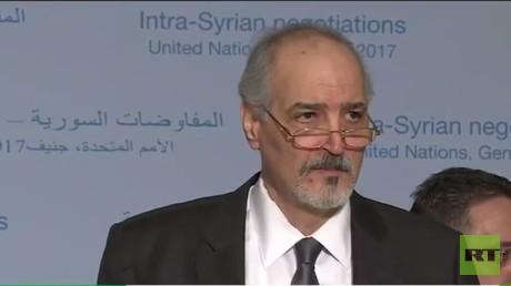 مؤتمر صحفي لرئيس وفد الحكومة السورية إلى جنيف بشار الجعفري