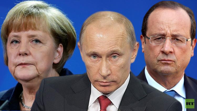 بوتين يتفق مع ميركل وهولاند على تفعيل تبادل معلومات الاستخبارات لمكافحة الإرهاب