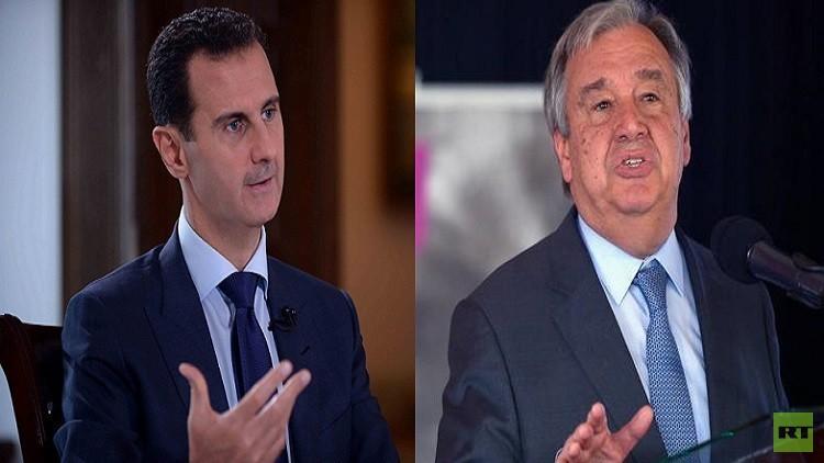 الأمين العام للأمم المتحدة يهنئ الأسد