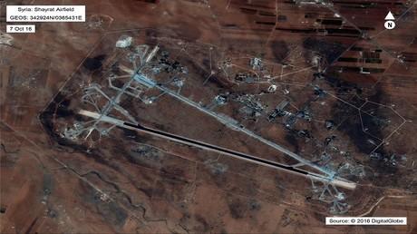 صورة من الأقمار الاصطناعية لمطار الشعيرات العسكري في سوريا