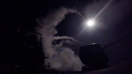 صورة لتنفيذ الضربة الأمريكية على سوريا نشرها البنتاغون