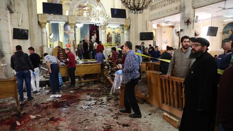 موقع التفجير الإرهابي في كنيسة مارجرجس للأقباط في طنطا