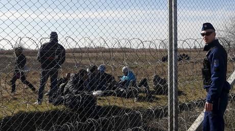 لاجؤون على حدود هنغاريا