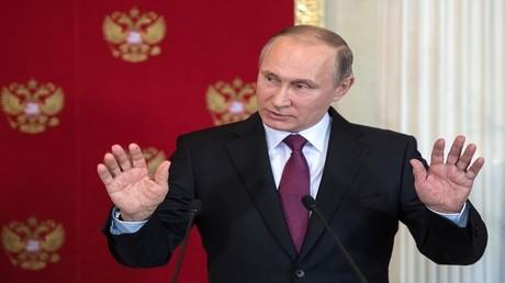 بوتين خلال مؤتمر صحفي مشترك مع الرئيس الإيطالي سيرجيو ماتاريلا، موسكو، 11 أبريل 2017