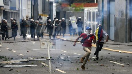 احتجاجات في فنزويلا ضد الرئيس نيكولاس مادورو في العاصمة كراكاس، 10/4/2017