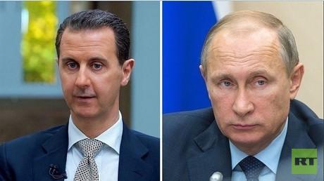 بوتين يهنئ الأسد بعيد استقلال بلاده
