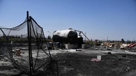 قاعدة الشعيرات السورية بعد تعرضها للضربة الأمريكية
