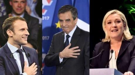 المرشحون الثلاثة الأوفر حظا لرئاسة فرنسا: فرانسوا فيون وإيمانويل ماكرون ومارين لوبان