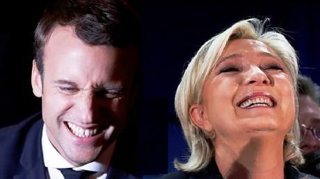 مرشحة الجبهة الوطنية مارين لوبان والمرشح المستقل إيمانويل ماكرون