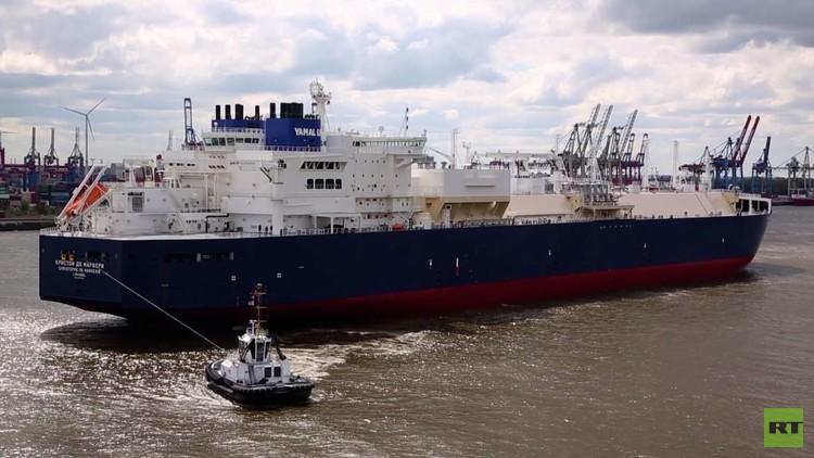 أول ناقلة غاز روسية كاسحة للجليد ترسو في ميناء هامبورغ
