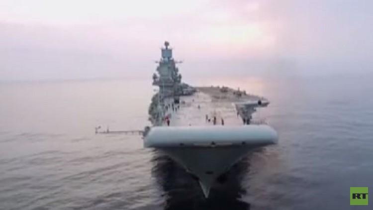 لحظات مثيرة لحاملة الطائرات الروسية