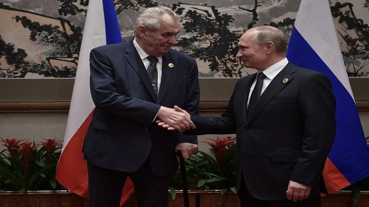 بوتين ولافروف يتبادلان المزاح مع الرئيس التشيكي زيمان
