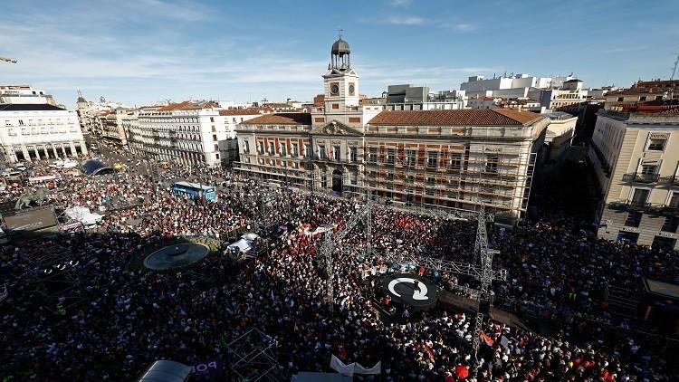 مظاهرة حاشدة في مدريد ضد رئيس الوزراء