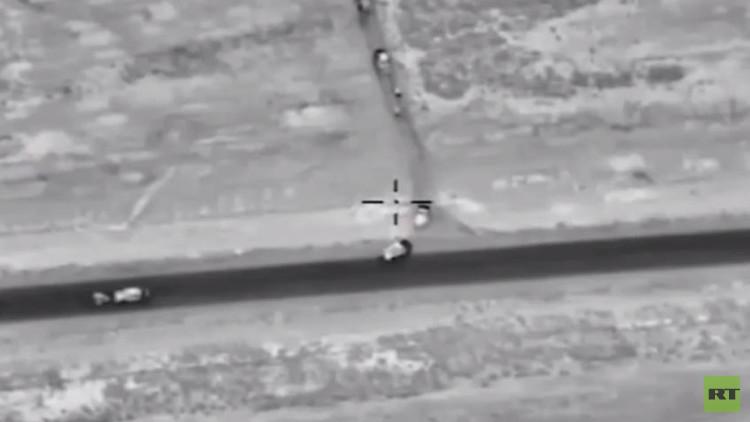 بالفيديو.. المقاتلات الروسية تدمر رتلا لداعش كان متوجها من الرقة إلى تدمر