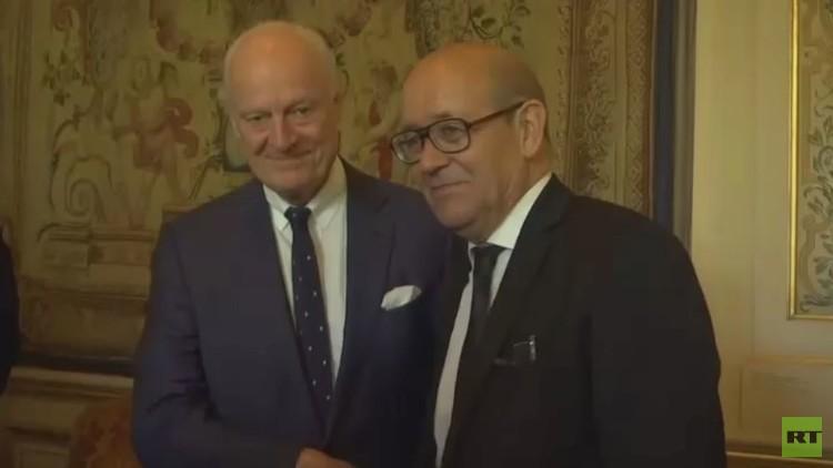 وزير الخارجية الفرنسي يبحث مع دي ميستورا التسوية السورية
