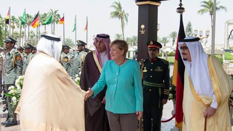 ميركل أثناء زيارتها إلى السعودية