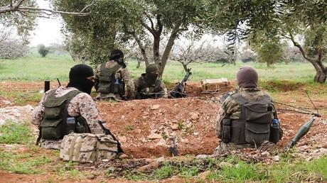 أرشيف - مسلحون بالقرب من بلدة معردس في ريف محافظة حماة السورية - 22 مارس 2017