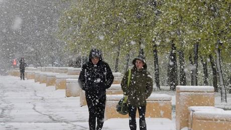 تساقط الثلوج في موسكو