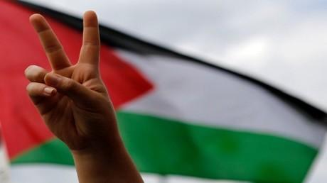 علامة النصر على خلفية العلم الفلسطيني