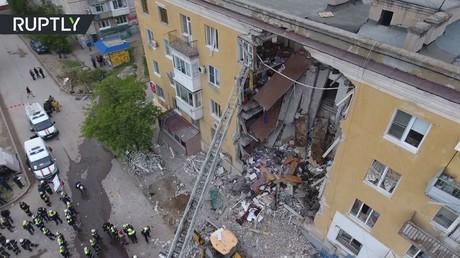 تصوير جوي لمكان وقوع انفجار الغاز في فولغوغراد