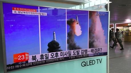 تقرير إخباري عن أحدث اختبار للصواريخ في كوريا الشمالية، سيئول 22 مايو 2017