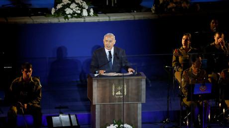 رئيس الوزراء الإسرائيلي، بيامين نتنياهو، يلقي كلمة في مراسم الاحتفال بالذكرى الـ50 لحرب يونيو 1967.