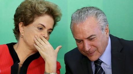 الرئيس البرازيلي الحالي، ميشيل تامر والرئيسة السابقة، ديلما فانا روسيف