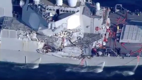 اصطدام مدمرة أمريكية بسفينة في سواحل اليابان