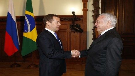 رئيس الوزراء الروسي، دميتري مدفيديف، والرئيس البرازيلي ميشال تامر