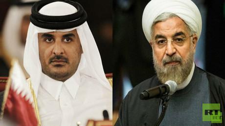 الرئيس الإيراني روحاني وأمير قطر الشيخ تميم